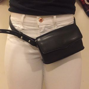 Rebecca Mincoff black leather belt bag